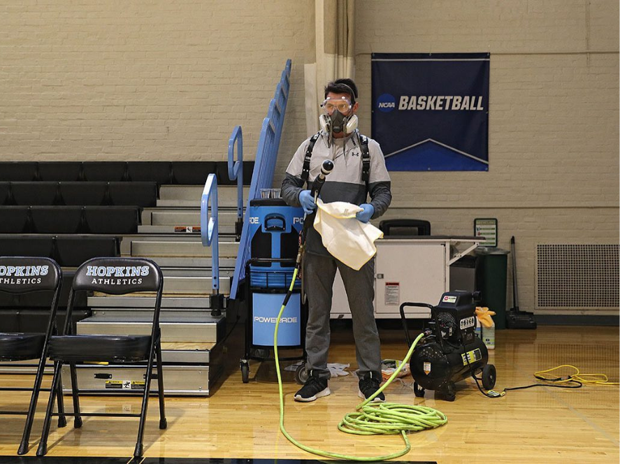 DTG disinfecting arena for basketball tournament during COVID-19