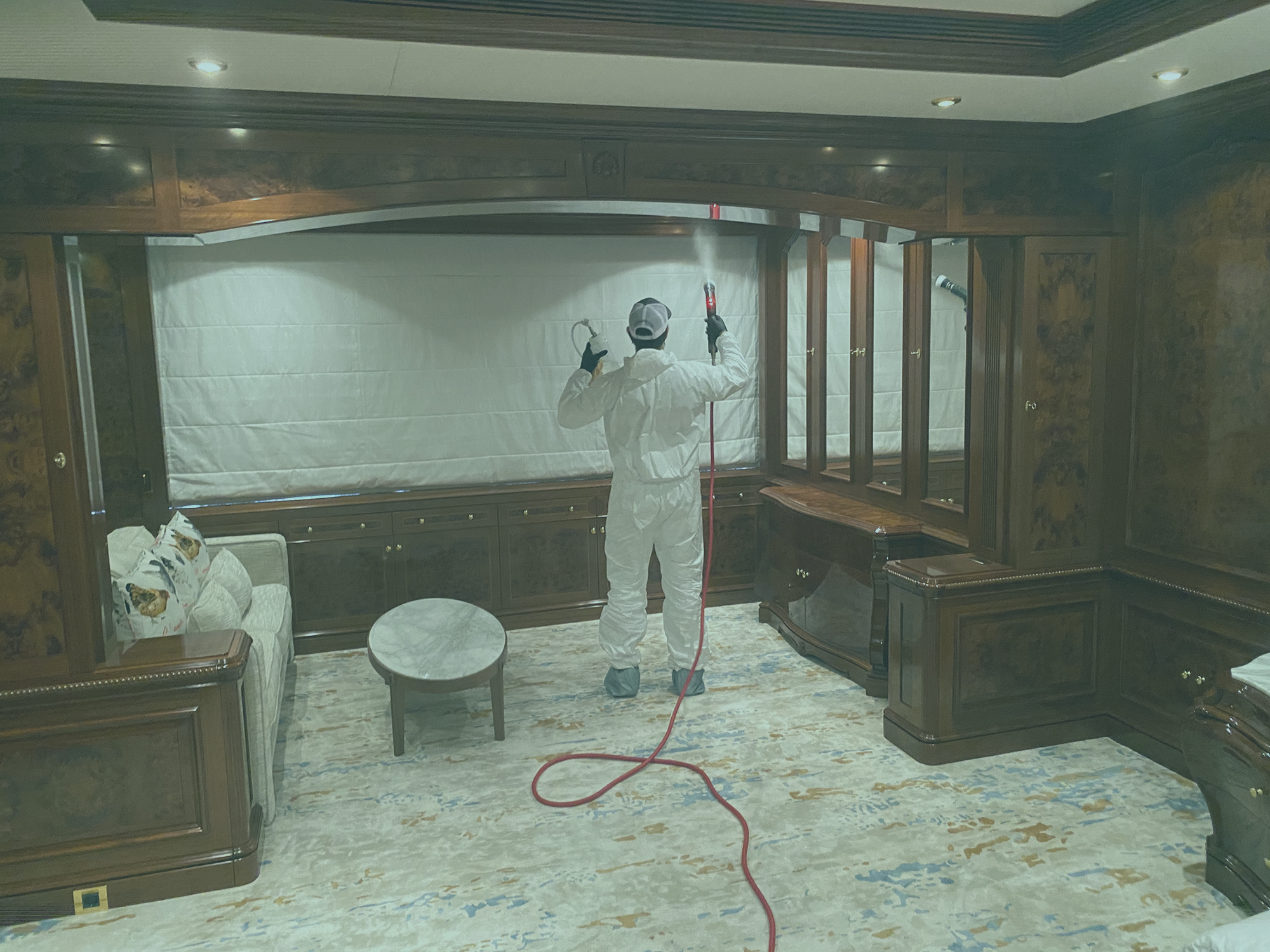 DTG technician disinfects Super Yacht - Marine Disinfection