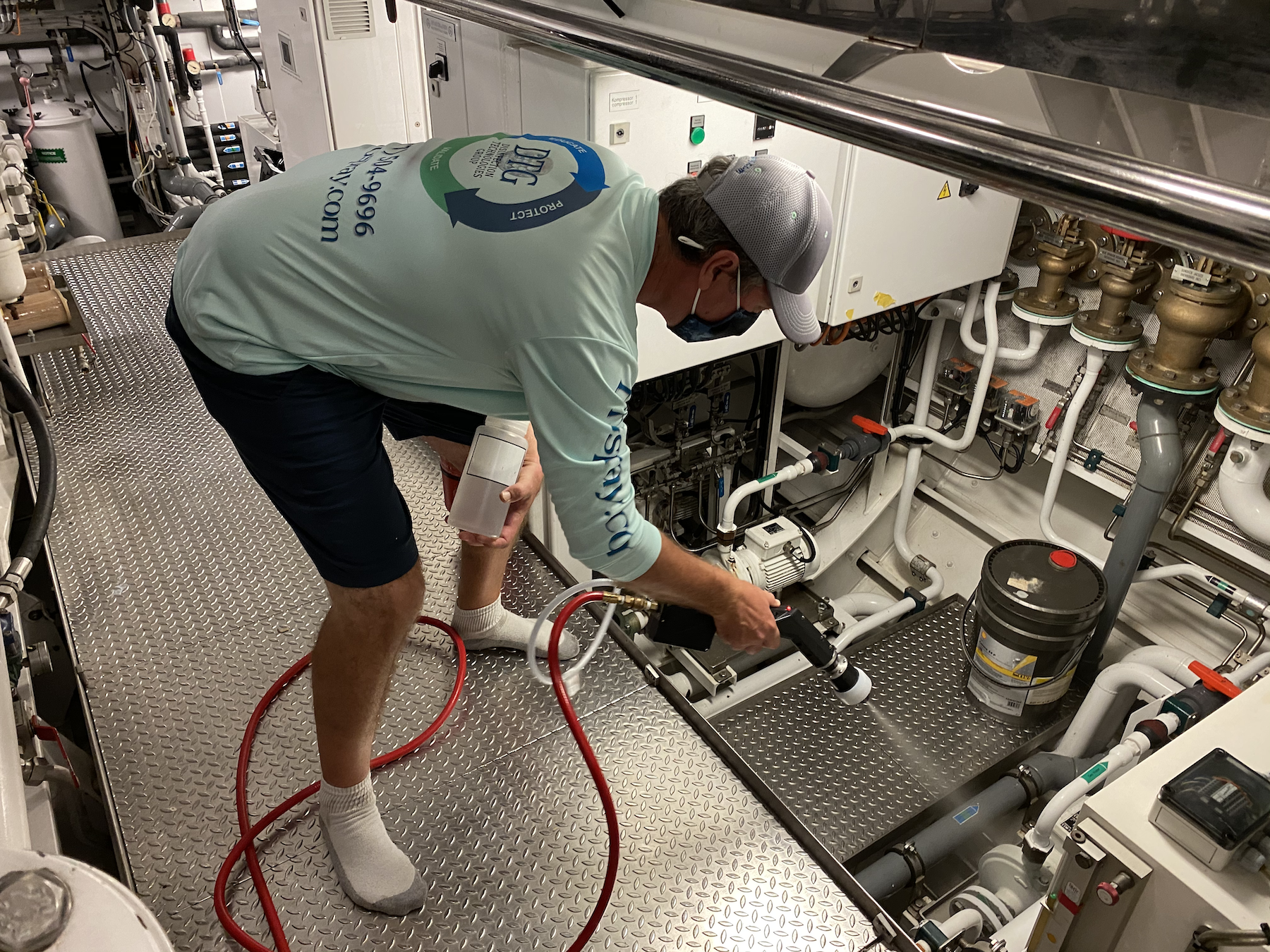 Disinfection of Yacht Engine Room